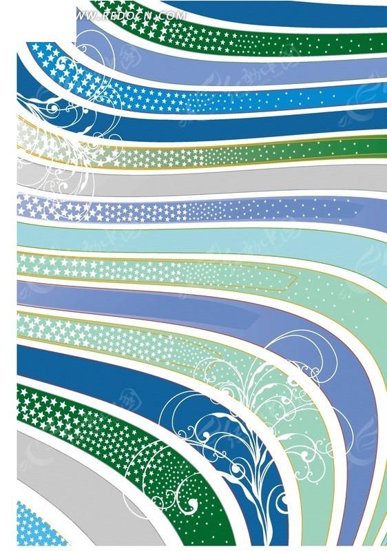 手绘彩色曲线条纹和花纹