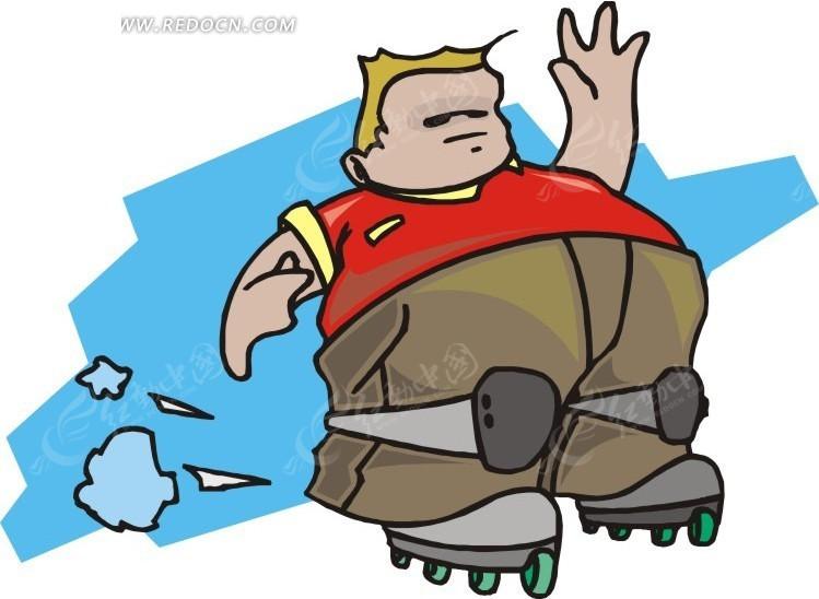 儿童手绘溜旱冰的胖子