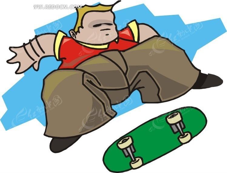 儿童手绘玩滑板的胖子