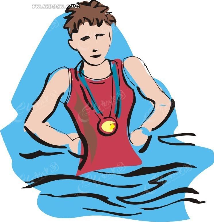 儿童手绘游泳冠军