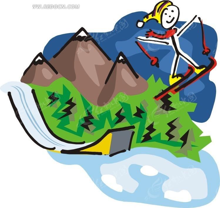 手绘手绘玩滑雪的人