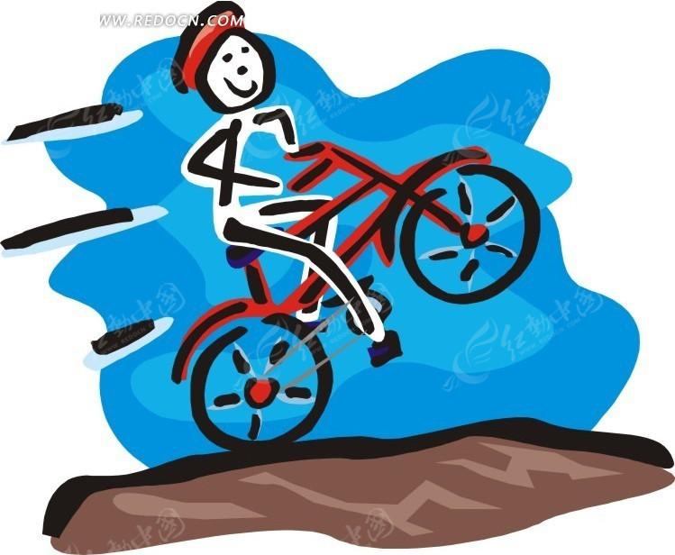 儿童手绘自行车手eps免费下载_体育运动素材