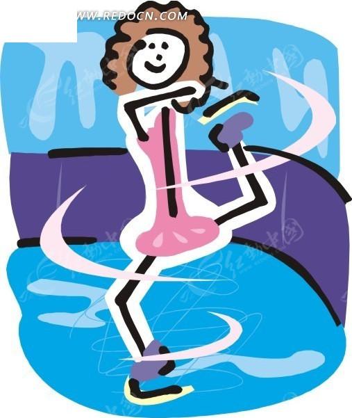 儿童手绘花样滑冰eps免费下载_体育运动素材