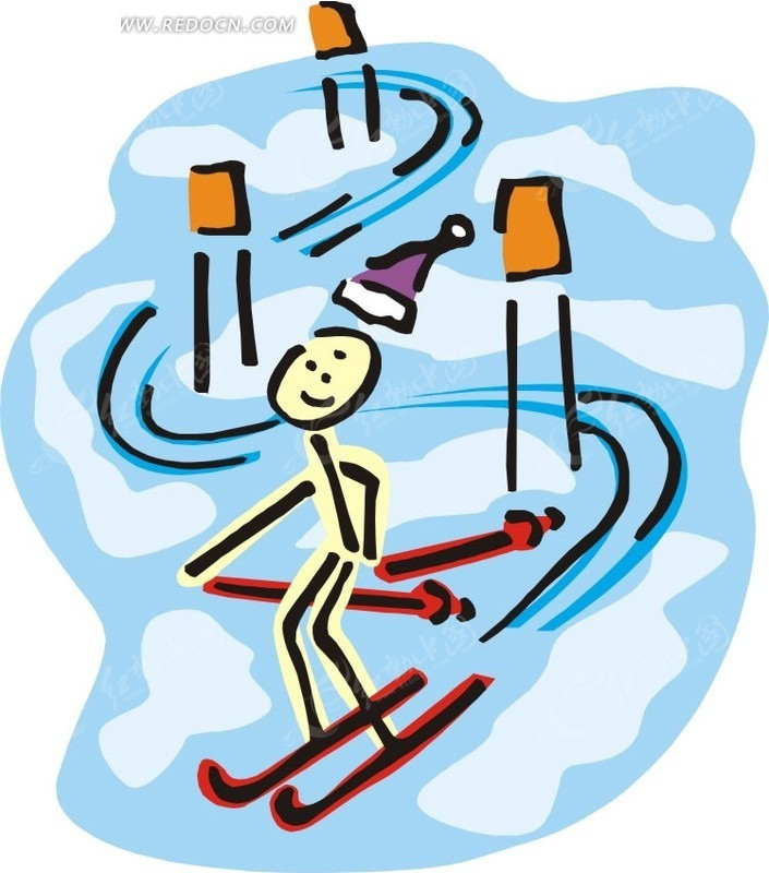 儿童手绘花样滑雪