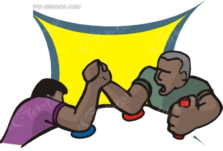 手绘扳手腕矢量图_体育运动