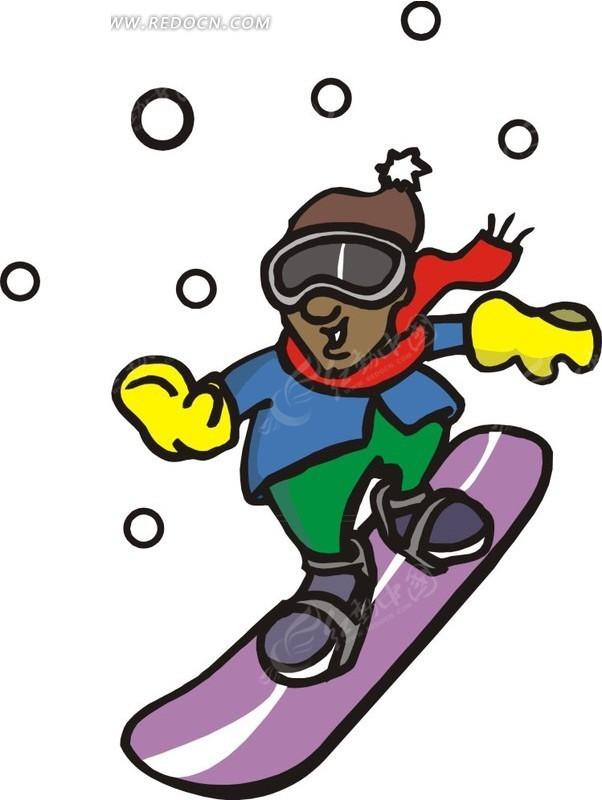 踩着滑雪板的卡通人物