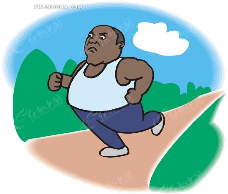 跑步锻炼的卡通人物矢量图