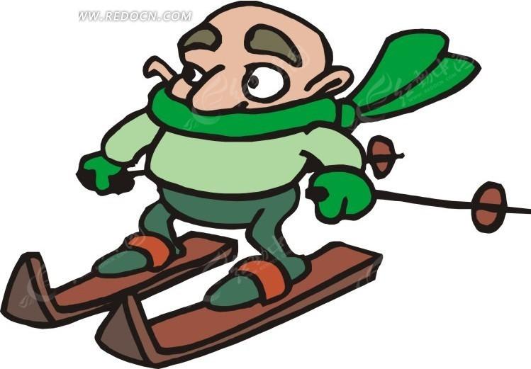 滑雪运动的卡通人物