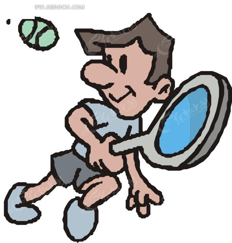 手拿球拍打网球的卡通人物