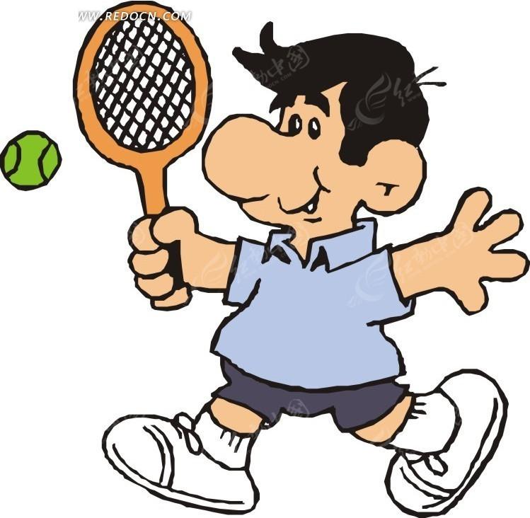 正在打网球的卡通人物