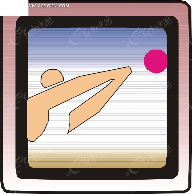 手绘排球运动图案矢量素材 矢量素材下载 1756583