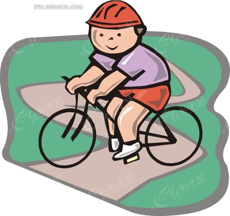 蜒小路上骑车的卡通人物矢量图EPS免费下载 体育运动素材图片