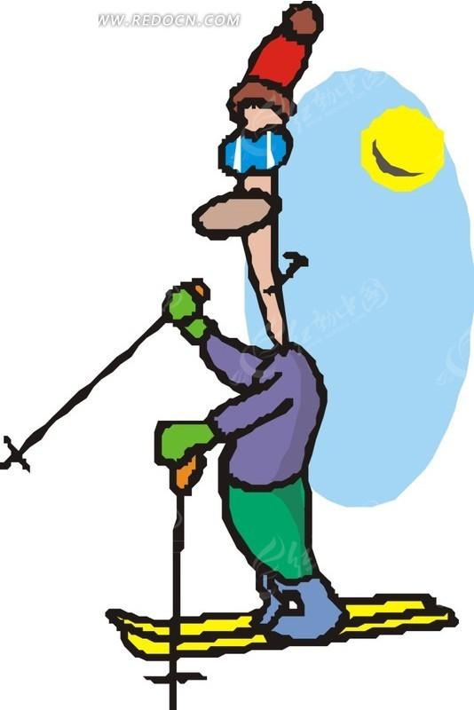 头戴滑雪帽的卡通人物