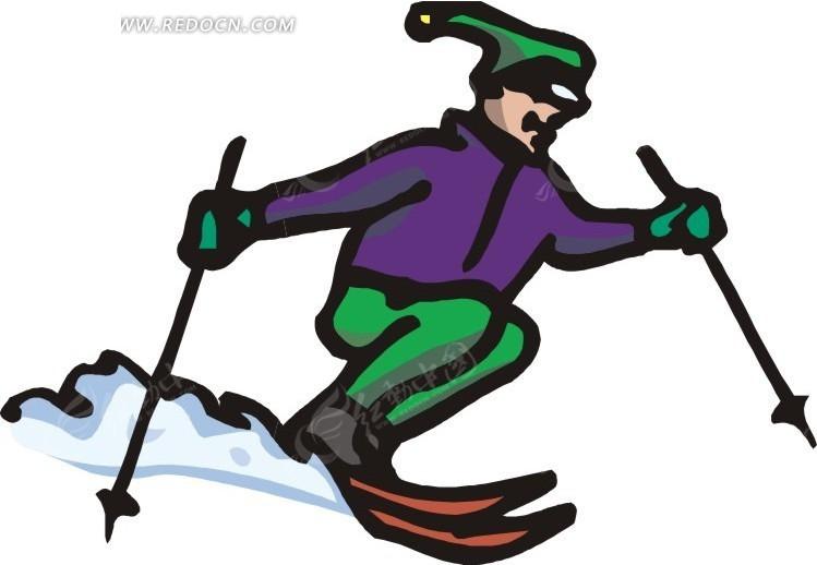 手拿滑雪杆滑雪的卡通人物