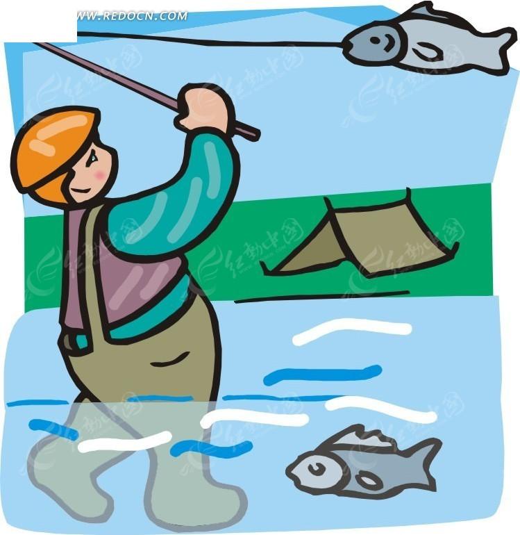 钓鱼的卡通人物