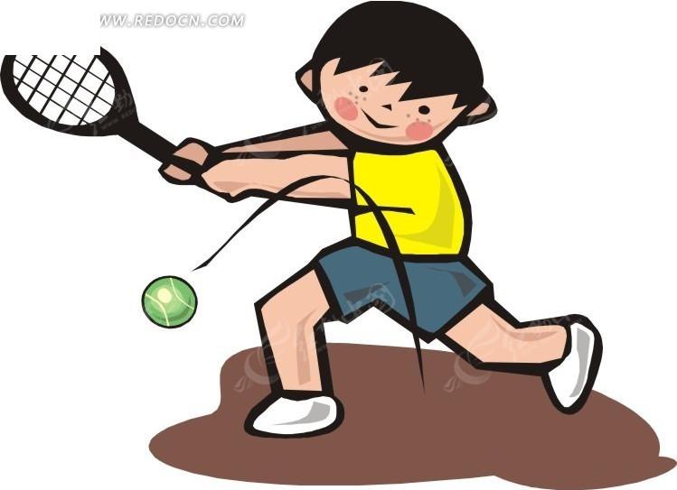 拿着 网球拍 小男孩 体育运动 生活百科 矢量素材 eps图片