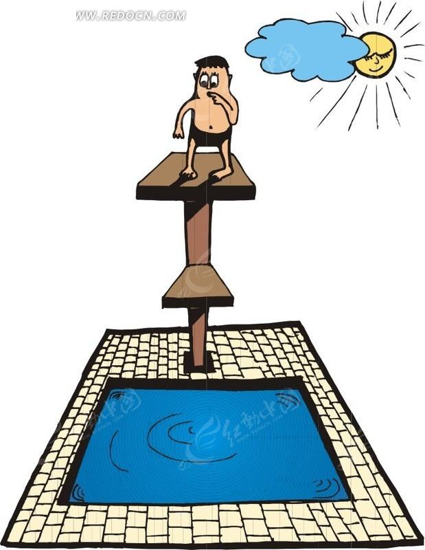 跳水的卡通人物