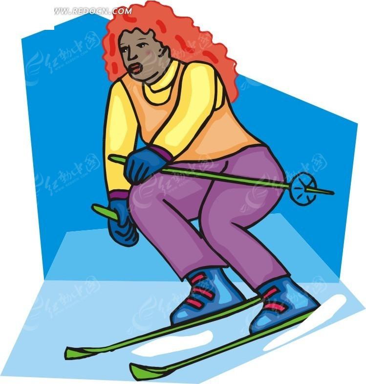 在滑雪的卡通人物