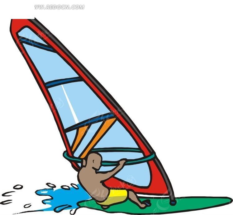 帆船运动的卡通人物