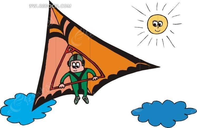 滑翔伞运动卡通画