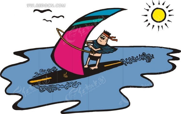 帆船运动卡通画
