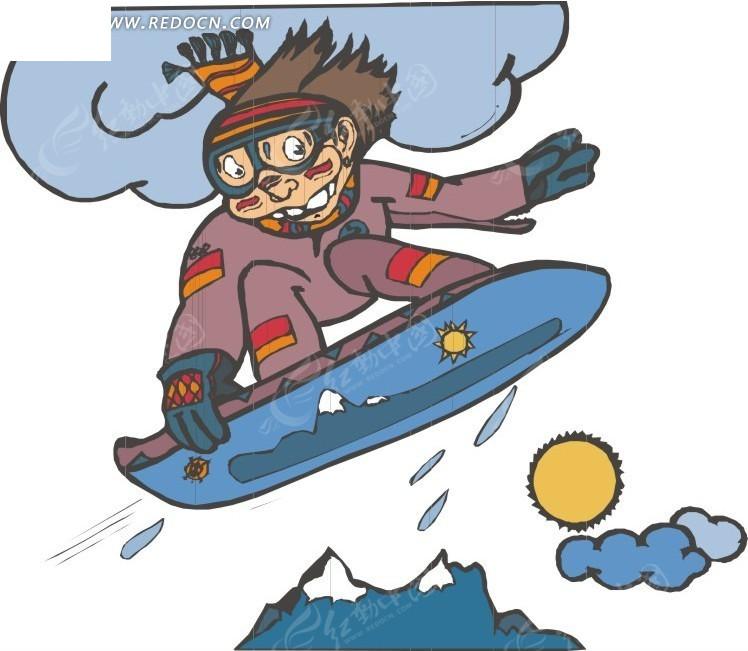 手绘高山滑雪的人