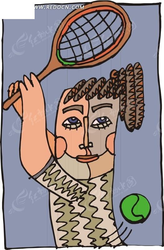 儿童手绘插画一个打网球的人矢量图_体育运动