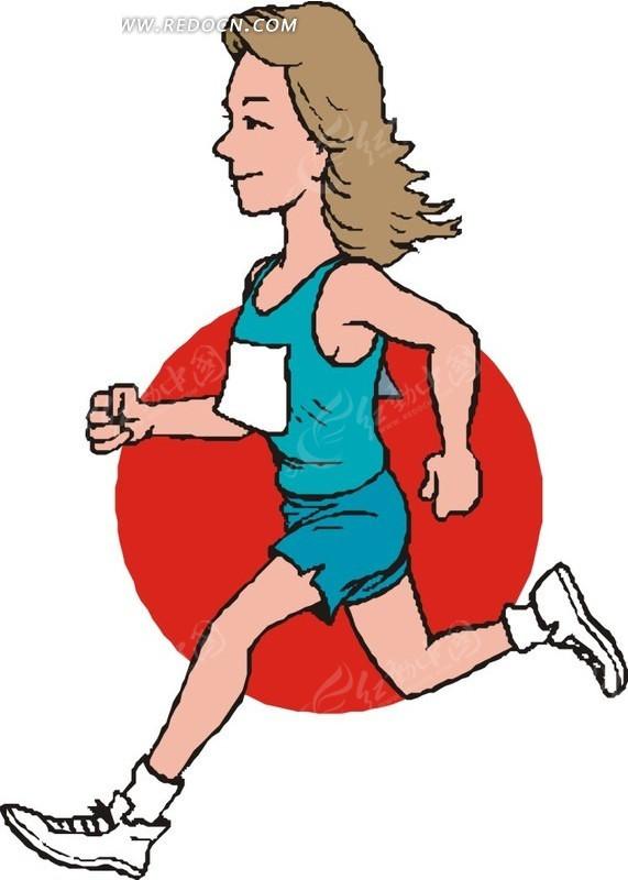 手绘插画长跑女运动员