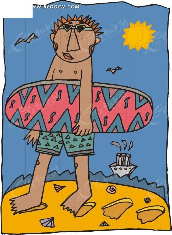 手绘插画海边抱着冲浪板的人