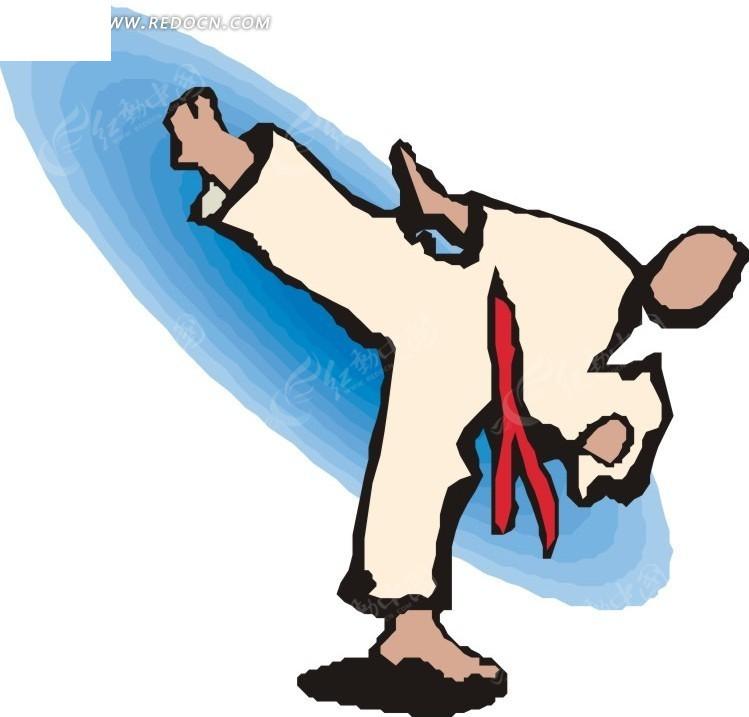 练跆拳道的卡通人物eps免费下载_体育运动素材