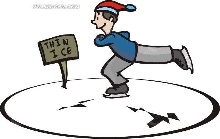 扬起腿滑冰的卡通人物