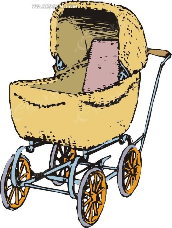 四轮婴儿车卡通画