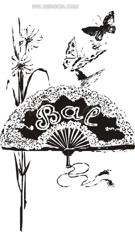 圆扇子黑白插画手绘线描