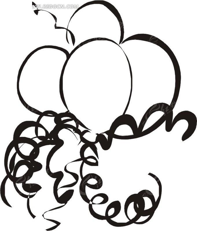 线描简笔画气球和彩带