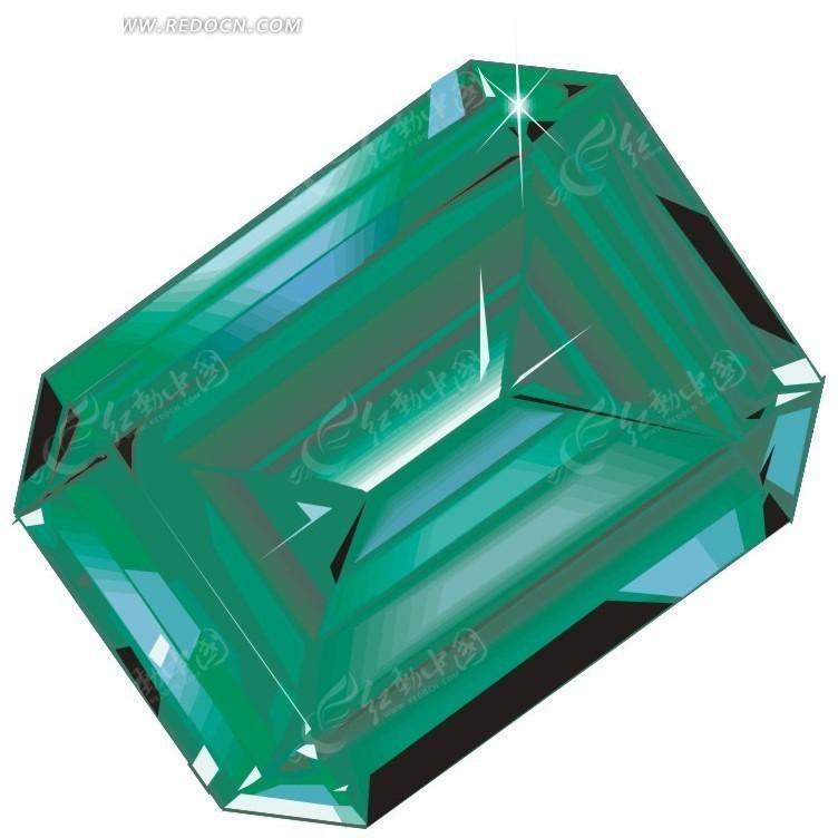 手绘绿色钻石