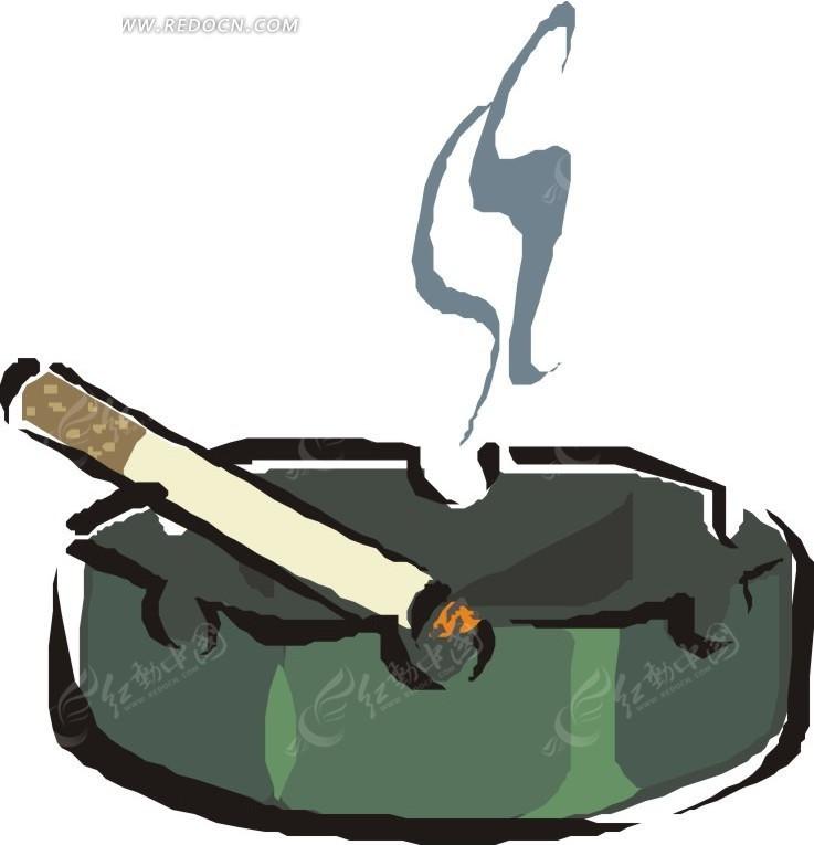 烟灰缸里燃烧的香烟矢量图_生活用品