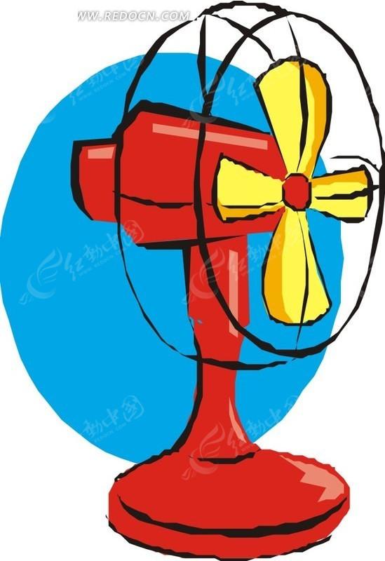 吹电风扇的小孩简笔画-一台电风扇EPS素材免费下载 红动网