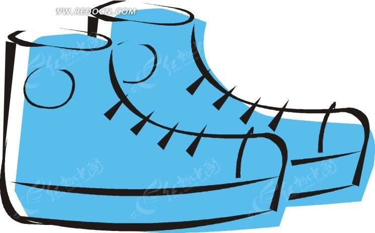 蓝色 鞋 卡通 手绘 生活用品 生活百科 矢量素材 eps