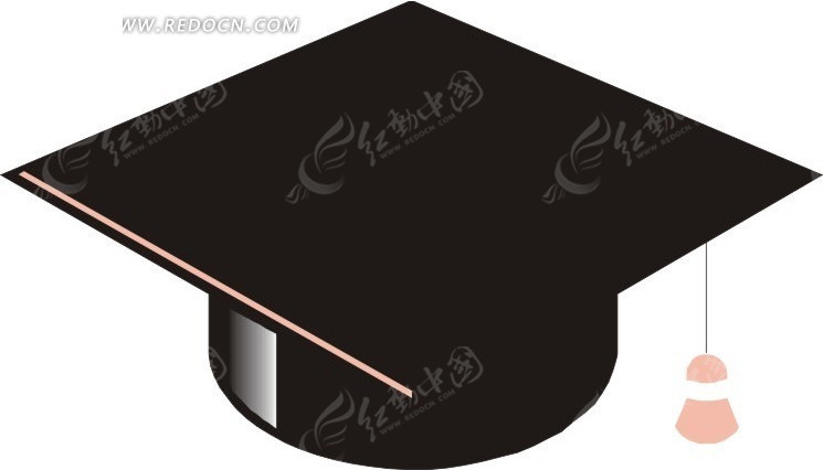 博士帽与书本手绘插画_现代科技_红动手机版