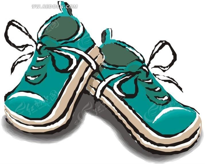 一双绿色运动鞋卡通画