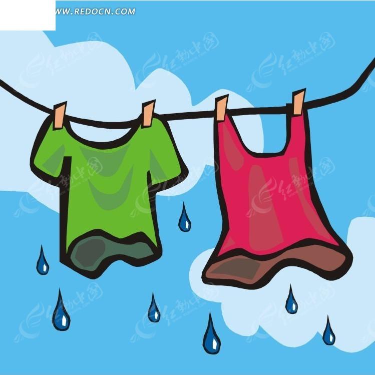 晾衣绳上滴水的衣服卡通画 珠宝服饰 红动手机版
