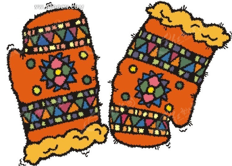 漂亮花纹的线手套