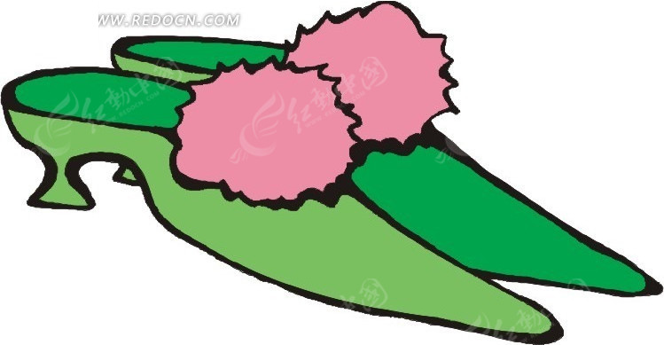 一双绿色的卡通鞋子矢量图