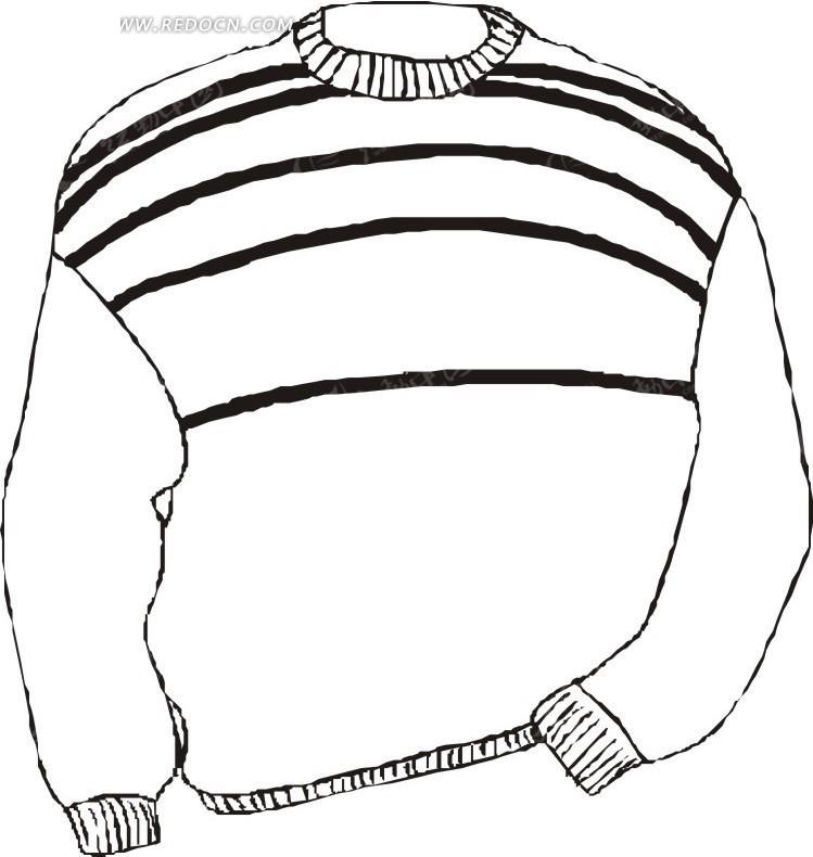 线描简笔画毛衣矢量图