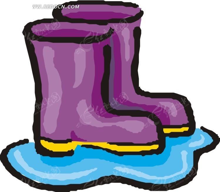 紫色 黄底 雨靴 靴子 生活百科 矢量素材 eps 免费下载