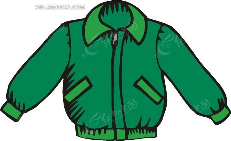 手绘绿色掐腰夹克