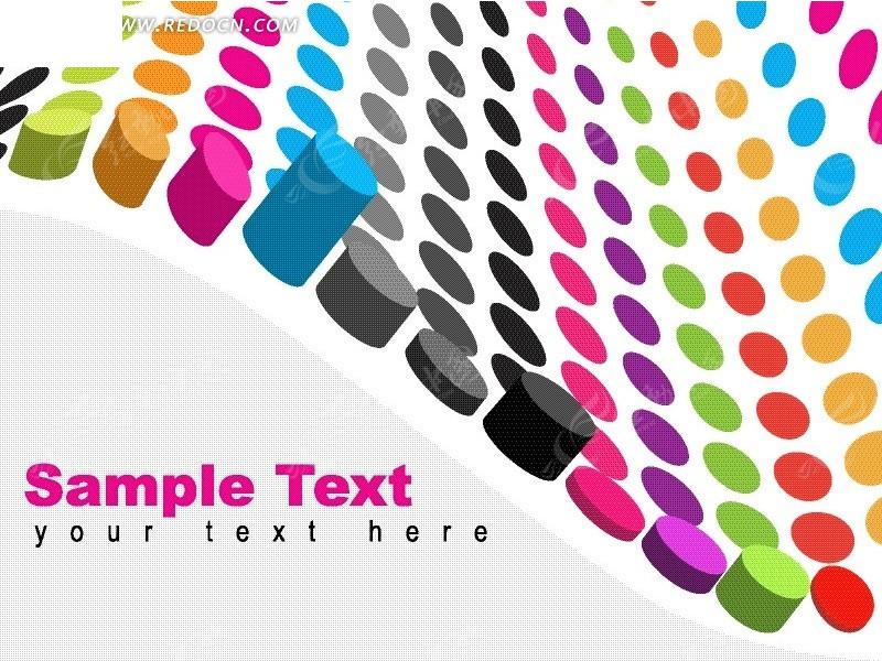 矢量彩色波点动感素材