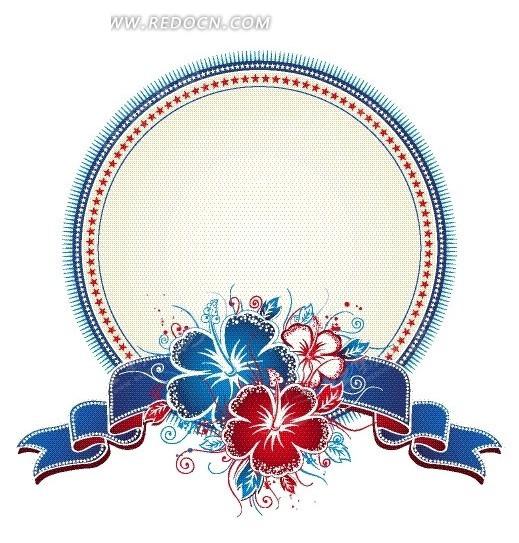 手绘蓝色红色花朵蓝色彩带装饰的圆形边框
