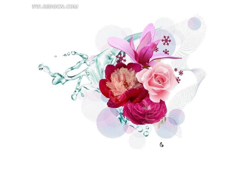 手绘蓝色水滴和盛开的花朵eps免费下载_底纹背景素材