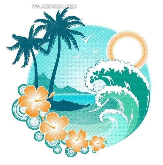 矢量素材 花纹边框 底纹背景 > 手绘阳光下的海滩美景和卷起的海浪